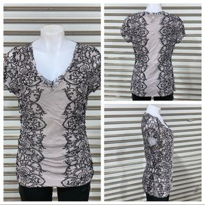 INC lined gray top with black design down sides
